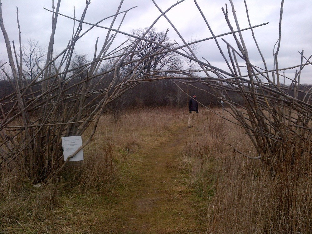 Artistic entrance to the trails of rare, near Blair Road.