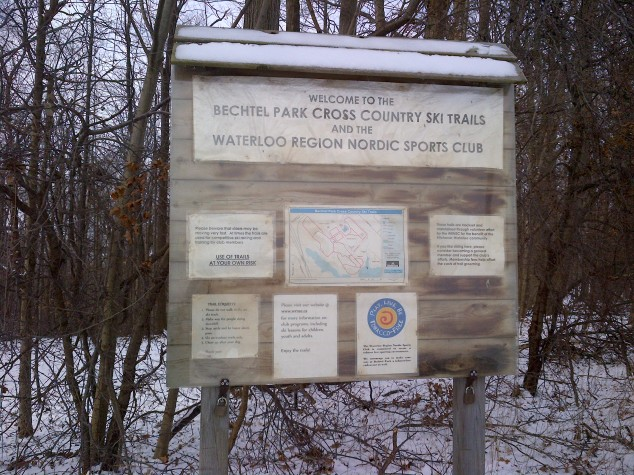 The sign leading into the woodlot of Bechtel Park.