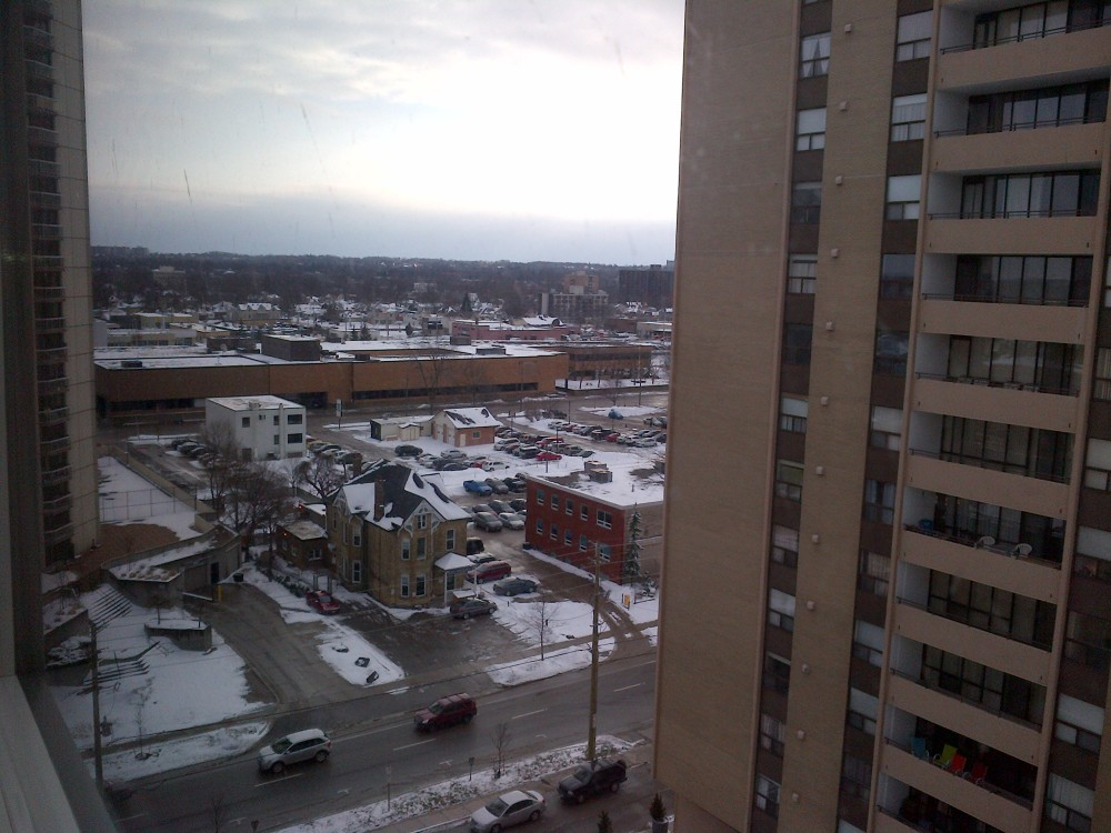 View of London, Ontario, from my window in the Residence Inn.