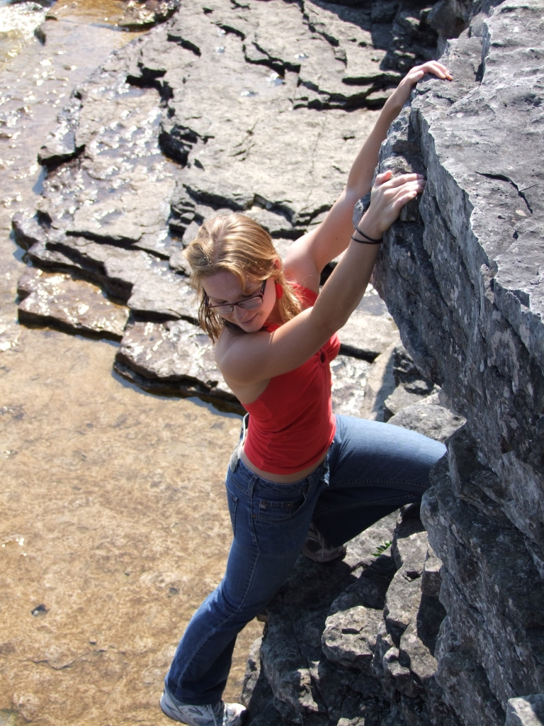 The author does a little light climbing.