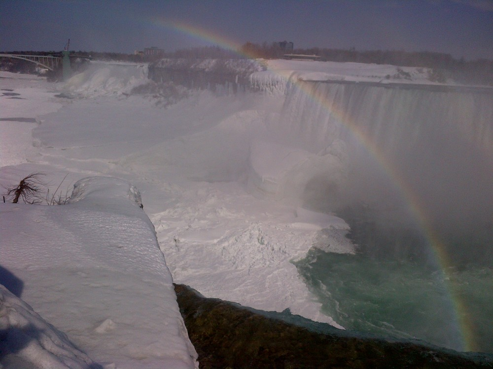 At least one rainbow graced the Falls.