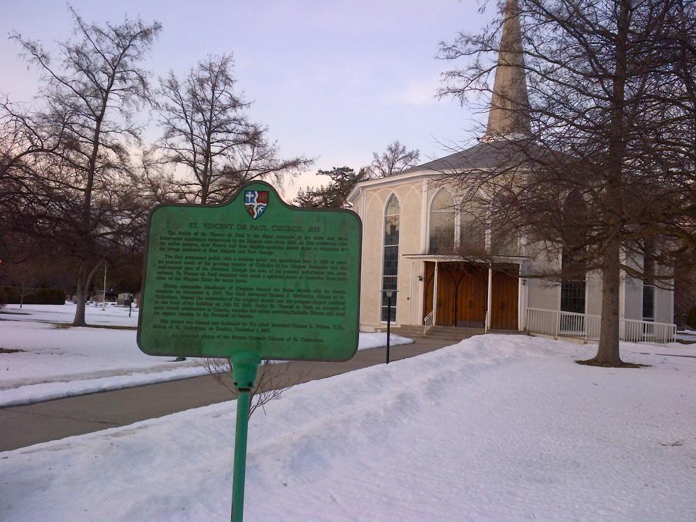 Historical plaque, St. Vincent de Paul church.