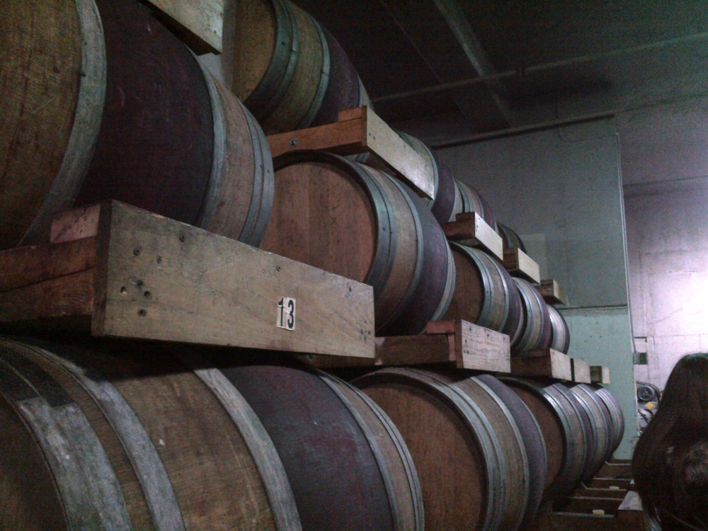 Barrels for aging the wine.