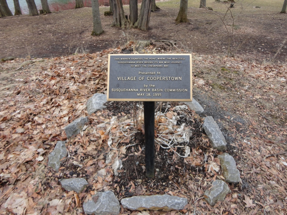 A plaque marking the spot where the Susquehanna River begins its long journey to Chesapeake Bay.