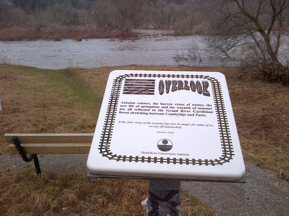 There are a few signs and benches along the trail.