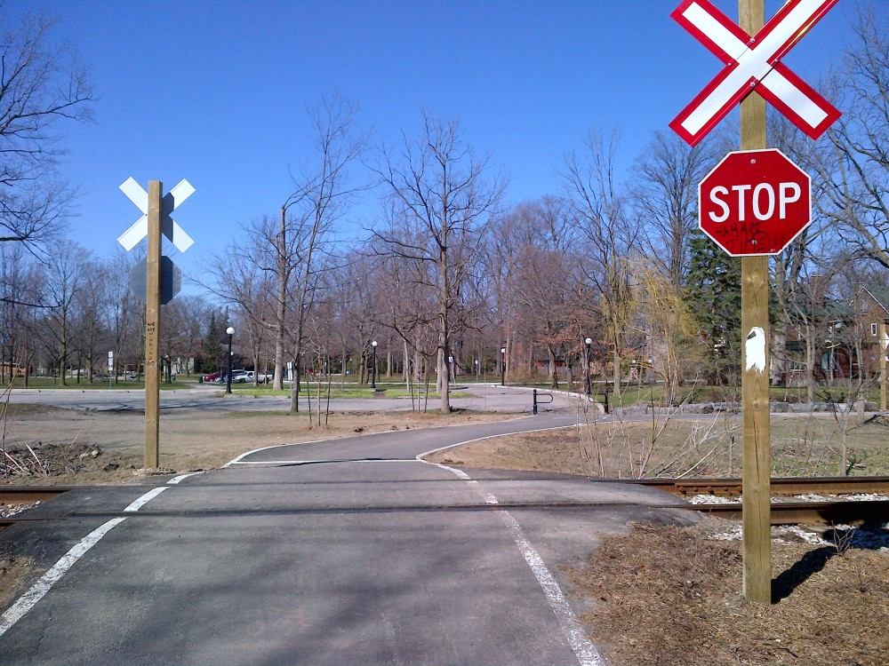 Recent improvements include a stop sign where the trail crosses a set of train tracks.