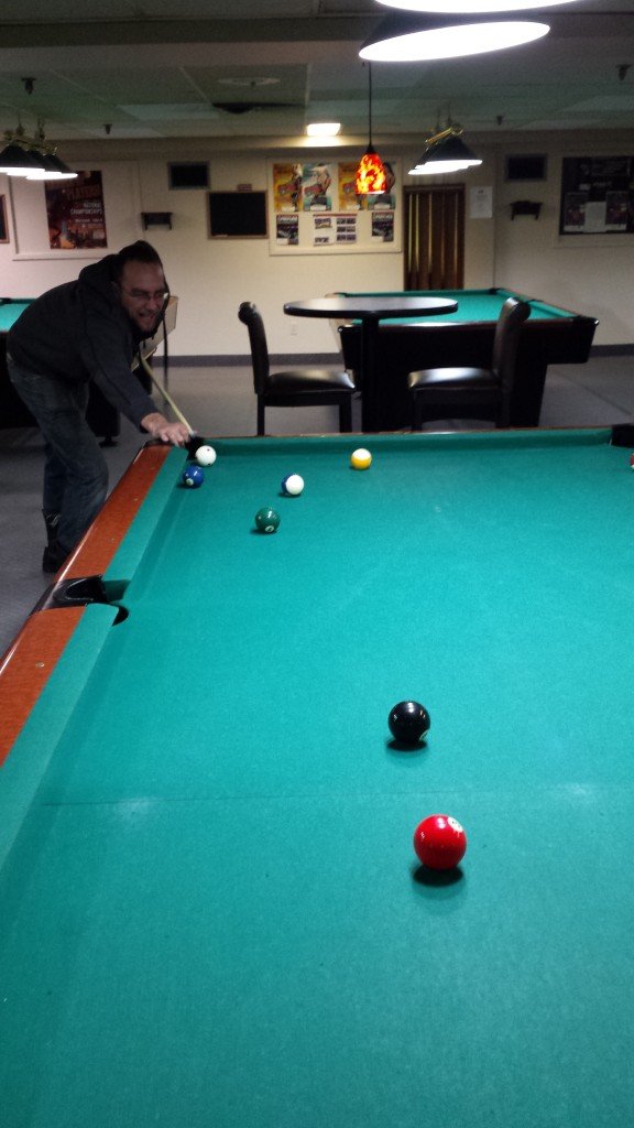 A game of pool at the Frederick Mall.