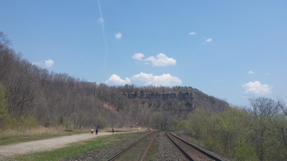 Headed along the (very busy) train tracks.