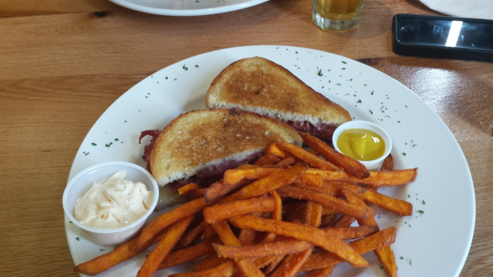 Reuben sandwich and sweet potato fries at Aunt Gussie's restaurant.