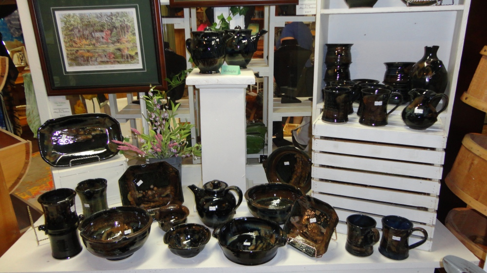 Pottery and art available for purchase in the gift shop.